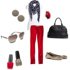 my polyvore creation.  red skinny jeans.