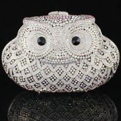 Fashion Clear Crystals Owl Clutch Evening Purse Hand bag,Wedding Party Designer Handbags,Free shipping WholesaleRetail $610.53