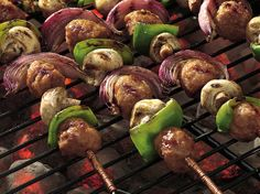 A quick brush of a spirited prepared sauce on veggies and frozen meatballs and youve got a terrific kabob to cook fast on the grill.