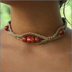 Cute macrame choker necklace