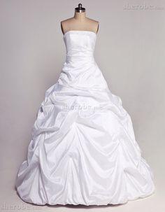 Tiefe Taile Taft Romantisches Langes Lockeres Brautkleid mit Rücken Schnürung - Bild 1