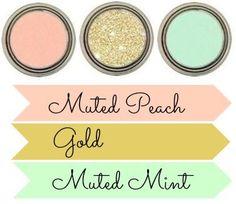 Peach, gold, mint palette.