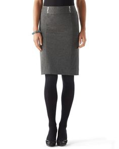 Charcoal Ponte Pencil Skirt