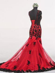 Mermaid Cap Sleeves Gothic Wedding Dress W1048 - Back