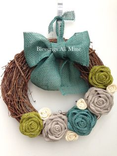 14 inch Grapevine Wreath, Burlap White, Gray, Avocado Green & Teal Turquoise Flowers, Teal Bow/Hanger Spring Summer Fall Autumn Winter Bridesmaids Gift, Bridal Shower Wedding Decor Gift, Housewarming Gift, Mother's Day Gift, Grandma Gift, Sister Gift, Unique Birthday Present, Gift for Women, Primitive Rustic Wreath Decor by Blessings All Mine on Etsy