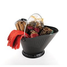 Woodfield Coal Hod Sampler with Woodburner's Red Leather Gloves - 47144 - CW3 @elitedeals