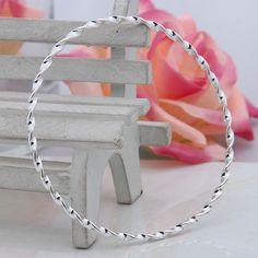 1pc Fashion 925 Sterling Silver Twisty Hoop Cuff Bangle Charms Bracelet Jewelry