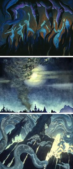 """Concept art by Kay Nielsen for the 'Night on Bald Mountain' sequence from Disney's """"Fantasia"""" (1940)"""