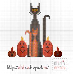 Halloween Cats and pumpkins Fall Cross Stitch, Cross Stitch Needles, Cross Stitch Cards, Simple Cross Stitch, Cross Stitch Samplers, Cross Stitch Animals, Counted Cross Stitch Patterns, Cross Stitch Designs, Cross Stitching