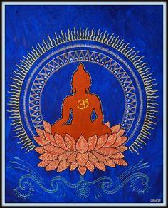 Buddha on Lotus henna style textured acrylic painting Gautama Buddha, Buddha Buddhism, Buddha Art, Buddha Lotus, Buddha Painting, Lotus Henna, Lotus Mandala, Henna Art, Chakras