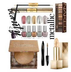 """""""Metallic Make Up"""" by zakiyyah-isnaini ❤ liked on Polyvore featuring beauty, Urban Decay, Lancôme, Burberry and tarte"""