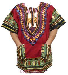 African Mens Rayon Brocade Top Dashiki Shirt Women Caftan with Hat Free Size