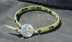 Leather and chrysoprase bracelet, semi precious gemstone for May £12.00