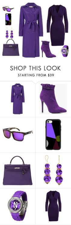 """PURPLE TRENCH STYLE"" by rebeccadavisblogger ❤ liked on Polyvore featuring Emilio Pucci, Boohoo, Spy Optic, Casetify, Hermès and Ferrucci"