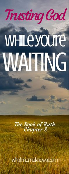 Do we struggle to find rest in the promises of God? It can be difficult to trust God while we're waiting. Naomi, Ruth and Boaz all put their trust in God's promises, and wait to see how God will show his faithfulness to them. Not easy to wait, though. The