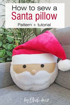 Sew a cute Santa-shaped pillow to complete your Christmas decor. Get the pattern and start making this easy Christmas sewing project. #Christmas #cushion #pattern #tutorial