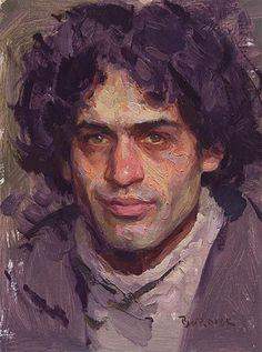 Artist: Scott Burdick (b.1967), oil on canvas {figurative #impressionist art male head man portrait #impasto texture painting #loveart} scottburdick.com