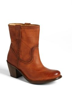 Free shipping and returns on Frye 'Carmen - X Stitch' Short Boot at Nordstrom.com. A sturdy stacked heel grounds a burnished leather boot detailed with tonal stitching for a touch of Western flair.