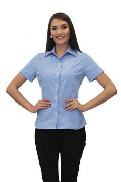 Camisa Social Feminina Manga Curta  - Jackie - Uniforme Social Sewing, Tik Tok, Women, Fashion, Dress Shirts, Maid Uniform, Work Uniforms, Country Outfits, White Fashion