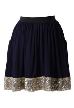 Seqins Navy Blue Skater Skirt