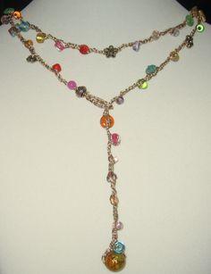 Colorful Hand Knit  Crochet Necklace Bracelet Boho Wrap, Stained  Glass RAINBOW  OOAK Unique Original by Sereba Designs. $42.00, via Etsy.