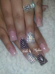 Duckfeet nude nails with bling and chevron design