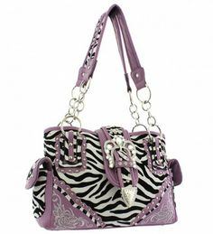 Purple Zebra Print Western Buckle Conceal and Carry Purse