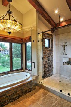 A bath in the Rancho Bernardo Hillside Lodge * I love the stained glass light over the bathtub