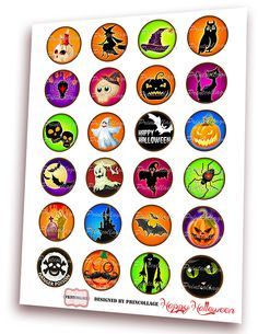 PRINTABLE DOWNLOAD Happy Halloween images - Digital Collage Sheet Printable images for Bottle Cap Cabochon images 4 sizes 1.5 inch, 18 mm, 14 mm, 1 inch circle