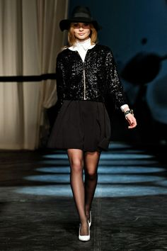 By Malene Birger - Copenhagen Fashion Week 2013 RTW - Glitter bomber jacket with a high collared white shirt and black skater skirt