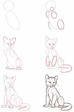 People Drawing Illustration Zeichentechniken How to Draw A Loch Ness Monster Cat Drawing Tutorial, Drawing Base, Painting & Drawing, Drawing Drawing, Cute Cat Drawing, Kitten Drawing, Drawing Hands, Figure Drawing, Animal Sketches