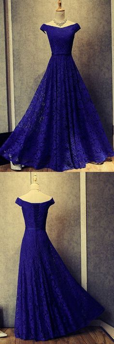 A-Line Lace Long Blue Prom Dresses Formal Evening Dresses #mdresses #prom #promdress #eveningdresses #fashion #longpromdress #blue #lace