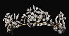 Antique Convertible Tiara (late 19th c.; diamonds). The three sprays are detachable and may be worn as brooches.
