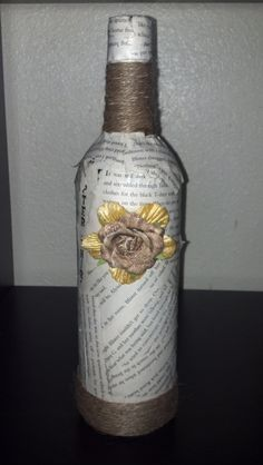 "decoupage wine bottle ""book pages"""