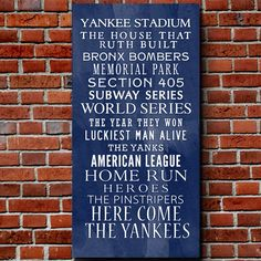 "$75 Yankee Bus Roll Baseball Wall Art Home decor sports -- this would be perfect for a ""Man Cave"" for babe (if we had a house big enough)"