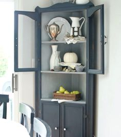 Fresh Corner Cabinet with Glass Doors