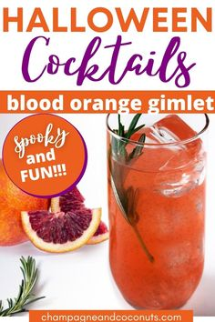 Enjoy a delicious Blood Orange Gimlet Halloween cocktail with this simple recipe. Made with gin, champagne, and blood orange juice, you can make it year round. But of course, it's most delicious made with fresh-squeezed juice when they are in season. Raise a glass to celebrate Halloween and enjoy this delicious bubbly drink. #gimlet #gin #champagne #bloodorange #drinks #cocktails #champagnecocktails #halloween #halloweendrinks #halloweencocktails #gindrinks