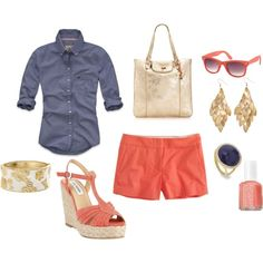 A fashion look from February 2012 featuring embroidered blouse, j crew shorts and steve madden sandals. Browse and shop related looks. Colored Shorts Outfits, J Crew Shorts, Got The Look, Personal Stylist, Mom Style, Short Outfits, Summer Looks, Wardrobes, Capsule Wardrobe
