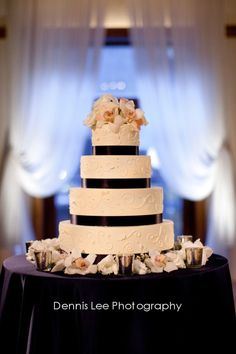 Amy Beck Cake Design - Chicago, IL - 4 Tier buttercream wedding cake with hand scrollwork detail - #amybeckcakedesign