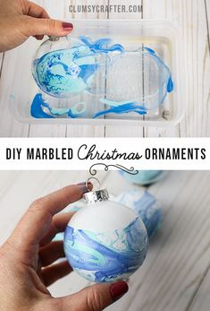 So fun and easy to make! Plus they look amazing. christmas baubles Marbled Christmas Ornaments with Nail Polish - Clumsy Crafter Kids Christmas Ornaments, Dollar Store Christmas, How To Make Ornaments, Christmas Decorations, Ornaments Ideas, Ornaments Design, Felt Christmas, Polish Christmas, Homemade Ornaments