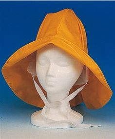 Childrens and Womens Yellow Heavy Duty .32mm PVC Rain Hat with ear flaps Size Small