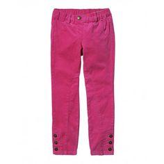 Pantalone in velluto, due tasche stondate davanti, elastico regolabile all'interno. Fondo chiusura a tre bottoni laterali.4DFN550Z0 pink