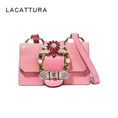 62.60$  Watch here - http://alilk0.worldwells.pw/go.php?t=32758723660 - New Arrival Of 2016 Autumn And Winter Leather Bag  flower Bag With Crystal Flap Miu lady  Shoulder Bag messenger Diamonds bags