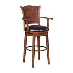 Steinworld Stein World 31 Inch Swivel Bar Stool with Arms - Pecan