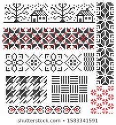 Lignende bilder, arkivbilder og vektorer av Set of Norwegian Star knitting patterns, vector seamless patterns – 554493310 | Shutterstock Pixel Design, Pattern Design, Coding, Knitting, Image, Embroidery Designs, Dots, Illustrations, Traditional