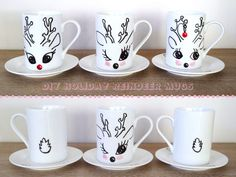 Hand painted holiday reindeer mugs are simple to make, and the perfect gift for anyone on your holiday gift list. Diy Christmas Reindeer, Homemade Christmas Gifts, Xmas Gifts, Christmas Crafts, Christmas Tables, Nordic Christmas, Modern Christmas, Hand Painted Mugs, Painted Cups