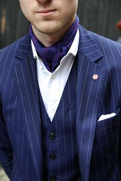 London Collections: Men Street Style - The Jigsaw Blog, Jon Holt from The Bespoke Gentleman wearing a pinstripe suit and cravat