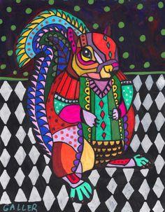 Off - Squirrel Folk Art Ceramic Tile Animal Tile Coaster Modern Unique Gift Colorful Coaster Modern Art Art Encadrée, Pop Art, Squirrel Art, Art Populaire, Motifs Animal, Arte Pop, Art Moderne, Poster Prints, Art Prints