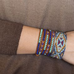 Blue Mix Cuff Bracelet on Brown Leather - Chan Luu