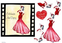 Glam Ladies by Eliza Brown This film star is adoring all the limelight. Decoupage the lady and red heart: This film star is adoring all the… Printable Crafts, Card Designs, Vintage Ladies, Decoupage, Pin Up, Card Making, Lady, How To Make, Star